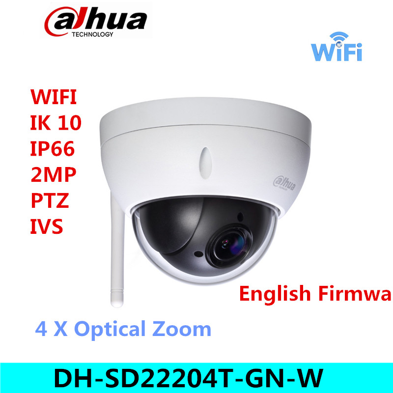 Original dahua DH-SD22204T-GN-W WiFI IP Camera 2MP HD Network Mini PTZ Dome 4x optical zoom POE wireless Camera sd22204t-gn-w dahua sd29204t gn w 2mp mini ir ptz wifi ip speed dome new version english firmware wdr day night 2 7mm 11mm focal length