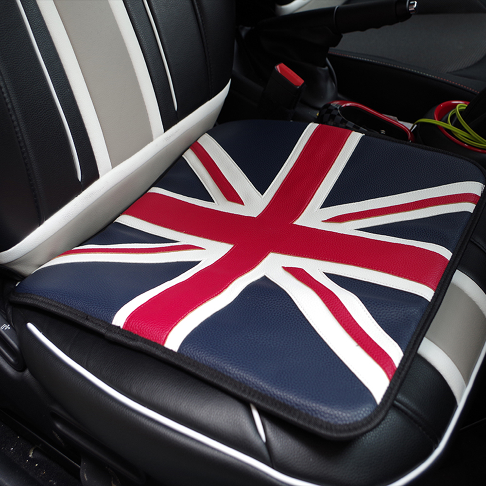 1pc Union Jack PU Leather Seat Cushion Covers Pad Car Styling For MINI Cooper JCW One S R55 R56 R58 R59 R60 R61 F54 F55 F56 F60