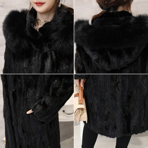 Image 4 - 2018 חדש נשים של חתיכות טבעי אמיתי מינק פרווה מעיל עם קפוצ ון ארוך סגנון מלא שרוול אמיתי פרווה החורף להאריך ימים יותר