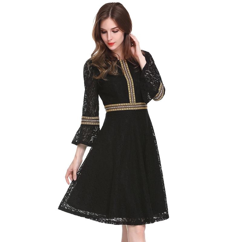 Vintage Patchwork Lace Dress 2019 Casual Elegant Hollow Out Slim Party Dresses Black Red Autumn Winter Women Dress Plus Size 3XL