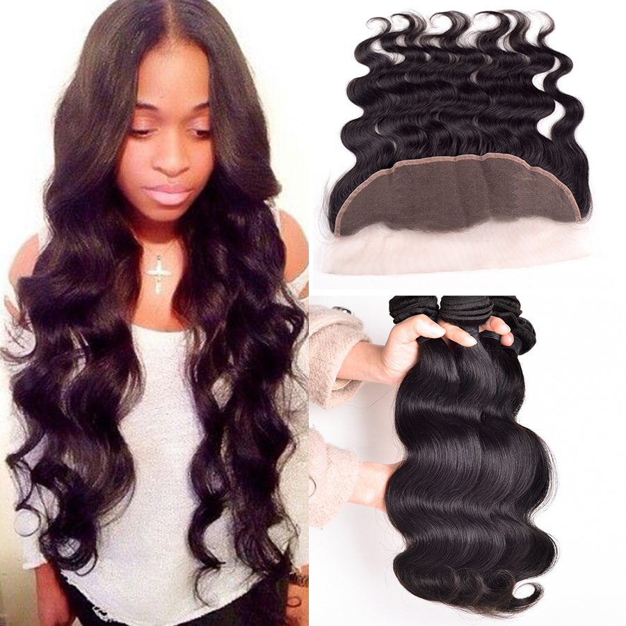 Ear To Ear Lace Frontal Closure With Bundles Peruvian Virgin Hair Body Wave With Closure Human Hair Lace Frontals With Baby Hair