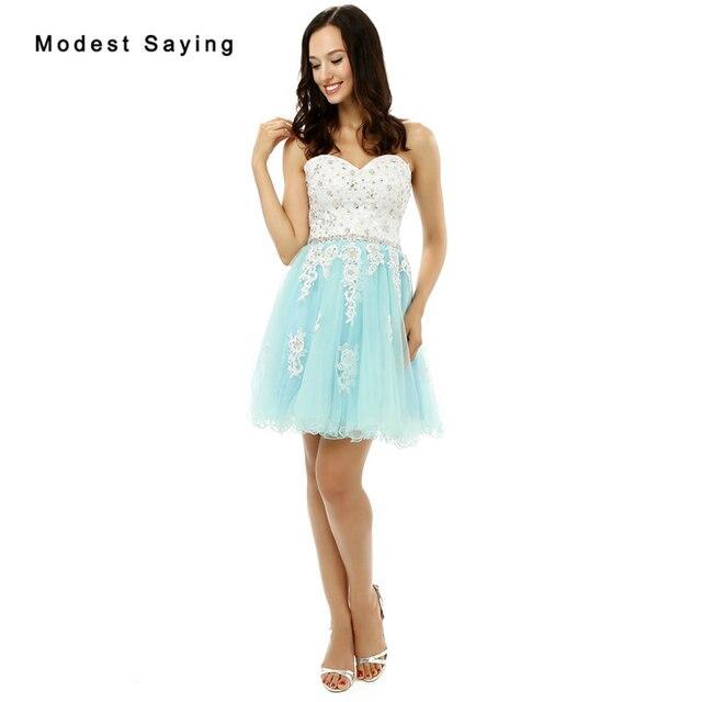 8f0b51b5fcc New 2017 Elegant Blue and Ivory Short Lace Homecoming Dresses Formal 8th  grade Beads Graduation Gowns vestido de formatura curto