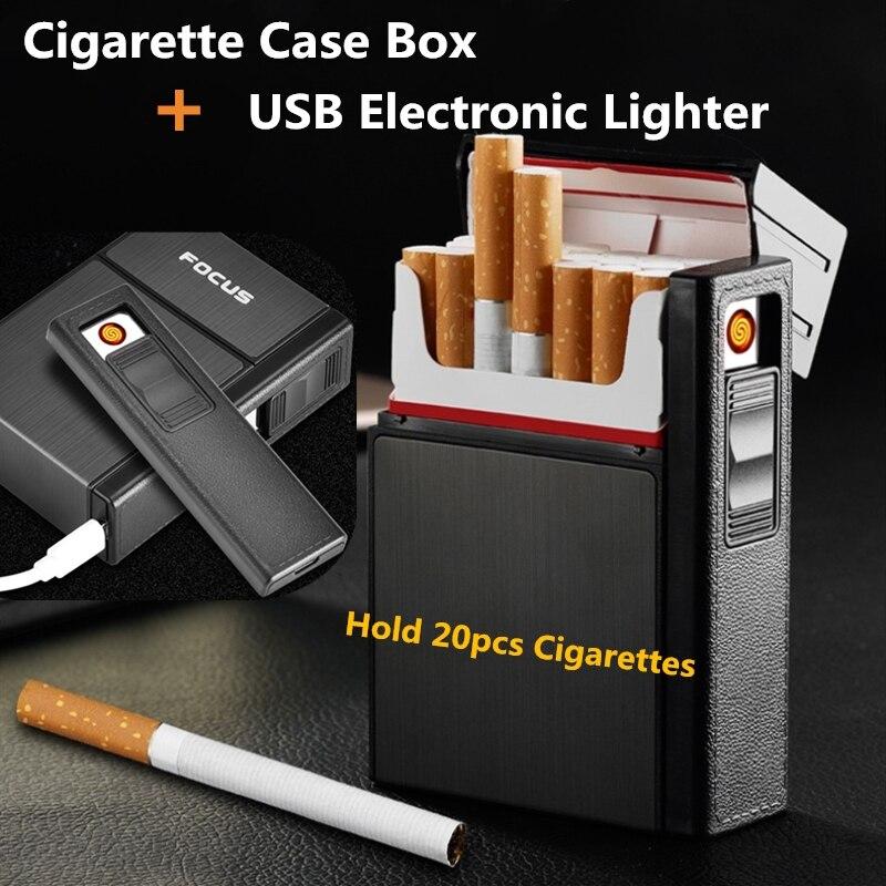 MESSA A FUOCO Cigarette Box Con Staccabile USB Accendino Elettronico Antivento Jet Lighter Portatile Portasigarette di Metallo 20 pz Holder
