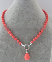 FREE SHIPPING>>>@@ > N3451 8mm pink coral color perfect round shell pearl necklace + 20mm big pendant