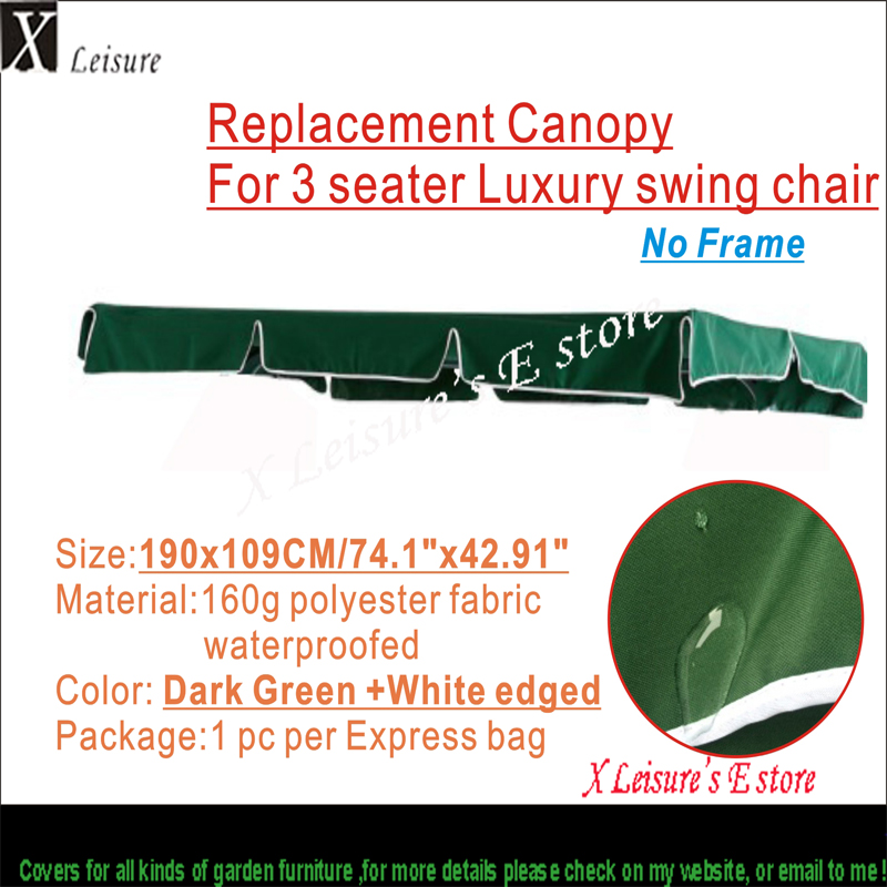 """Ndërrimi i tendës për 3 vendësh Karrige lëkundëse luksoze -Dark Green 74.8 """"x42.91"""" / 190X109cm"""