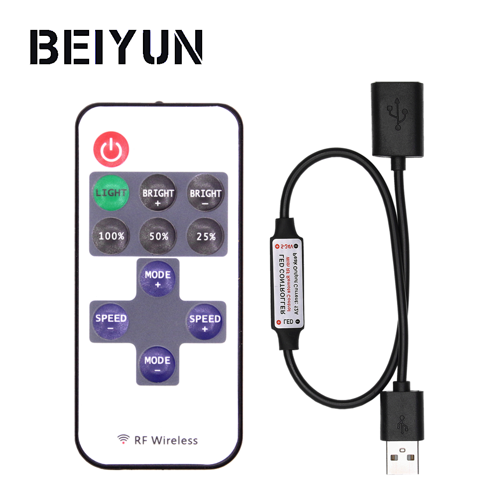 все цены на BEIYUN Mini USB 5V RF Wireless LED Controller Dimmer Remote Control For USB LED String and Single Color LED Strip 5050 2835 5630 онлайн