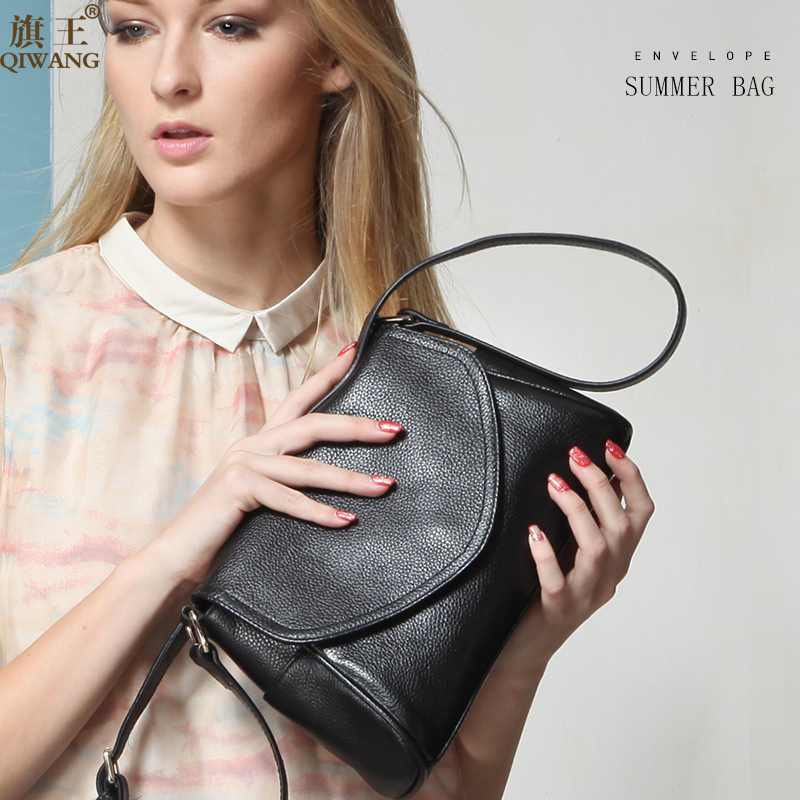 QIWANG Women Bag Genuine Leather Shoulder Bag Luxury Designer Handbag High Quality Fashion Women Leather Strap Flap Shoulder Bag цена 2017