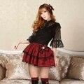 2016 nuevo de las mujeres de moda falda a cuadros faldas Sexy Lolita Punk lolita mini arco a cuadros Rojo y Negro de dos capas de algodón de alta calidad empate
