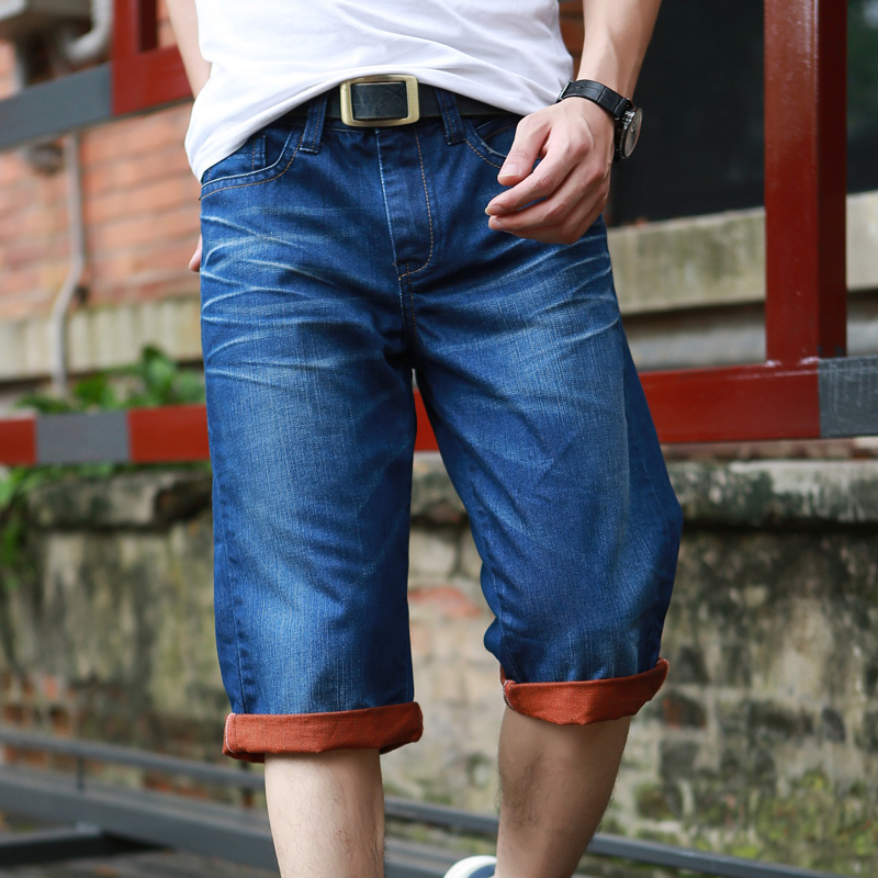ALA Jeans Short Men Casual Knee Length Denim Short Men Mid-waist Cotton Light Water Wash Jeans Men Straight Zipper Denim Jeans