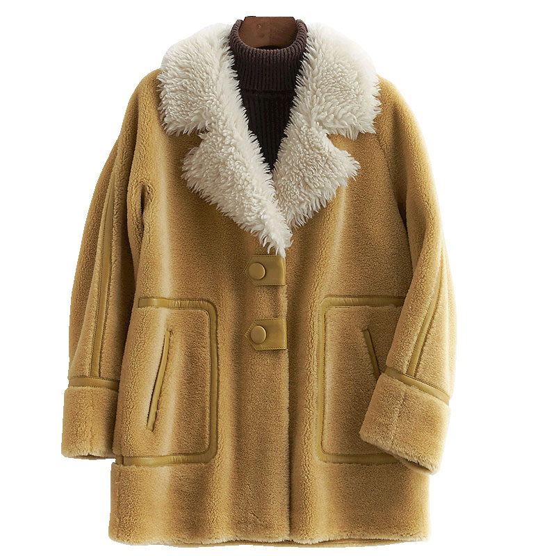 100% Wool Jacket Real Fur Coat Streetwear Autumn Winter Coat Women Clothes 2019 Korean Vintage Sheep Shearling Suede Lining 3338