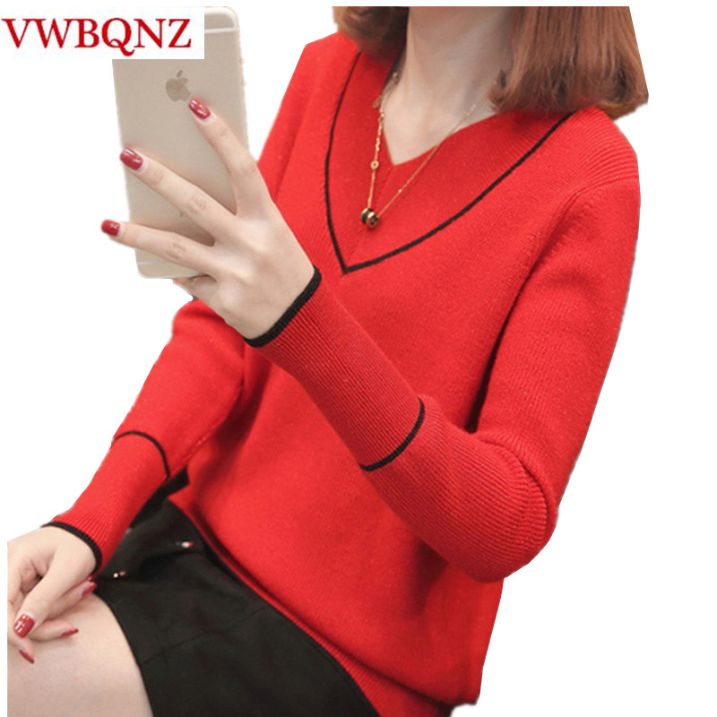 Warm Sweater Women Soft Pullovers 2019 Fashion New Autumn Winter Loose Tops V-neck Long-sleeve Knitted Sweater Coat Plus Size 3X