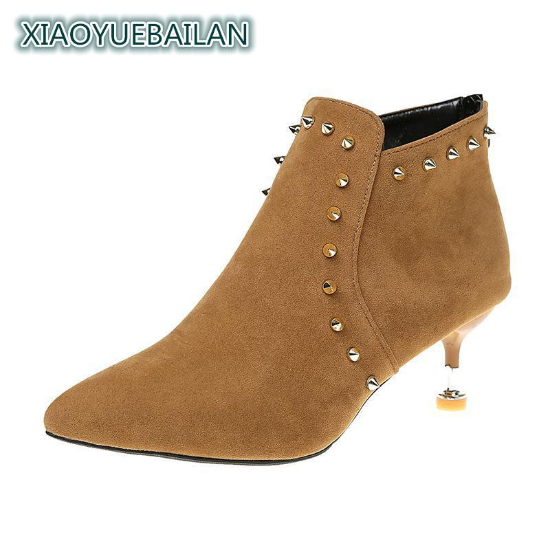 2018 Autumn New Womens High Heels And Night Shop Womens Top Low Rivet Suede Single Shoe
