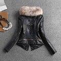 Европейский зима джинсовые куртки тонкий женский ПУ кожа ватник толщиной полный рукав шить с бисером хлопок подкладка пальто