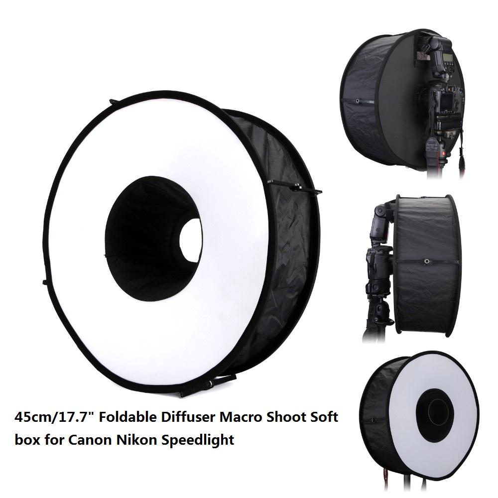 Lightdow 45cm Foldable Ring Speedlite Flash Diffuser Macro Shoot Round Softbox for Canon Nikon Sony Pentax Godox Speedlight 1