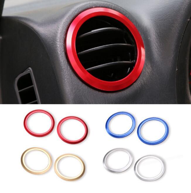 SHINEKA En Alliage D'aluminium AC Vent Couvercle De Sortie Garniture Climatisation Anneau Décoratif Cadre Autocollant pour Suzuki Jimny Car Styling