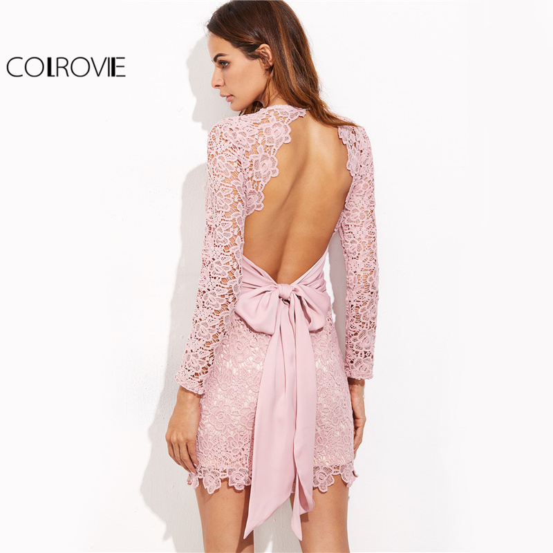 COLROVIE Vintage Lace Bow Tie Dress Sexy Open Back 2017 Women Elegant Pink Summer Party Dresses Long Sleeve Mini Bodycon Dress
