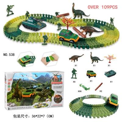 dinosaur track car DIY assembly building block track racing toy 48 pcs/100pcs/105pcs/109pcs/144pcs/275pcs boys girls gifts