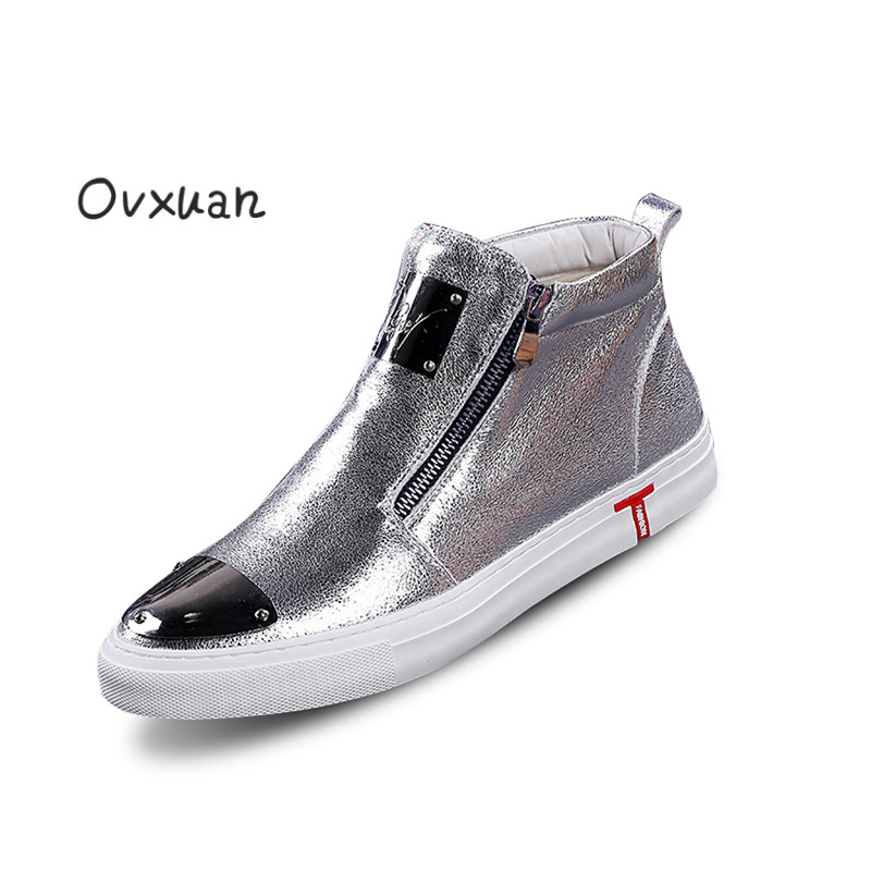 Ovxuan Leather Male Flats Mens Loafers Fashion Party Dress Sneakers Men Shoes Metal Sheet Toe Designer High Top Sneakers For men spring autumn fashion men high top shoes genuine leather breathable casual shoes male loafers youth sneakers flats 3a