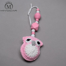 цена MIYOCAR handmade pink Crochet owl baby Gym toy stroller toy chain for pram stroller mobile rattle wooden bead crochet онлайн в 2017 году
