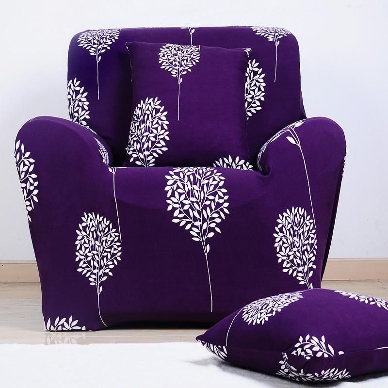 Purple Tree Arm Sofa Chair Cover Spandex Elastic Stretch