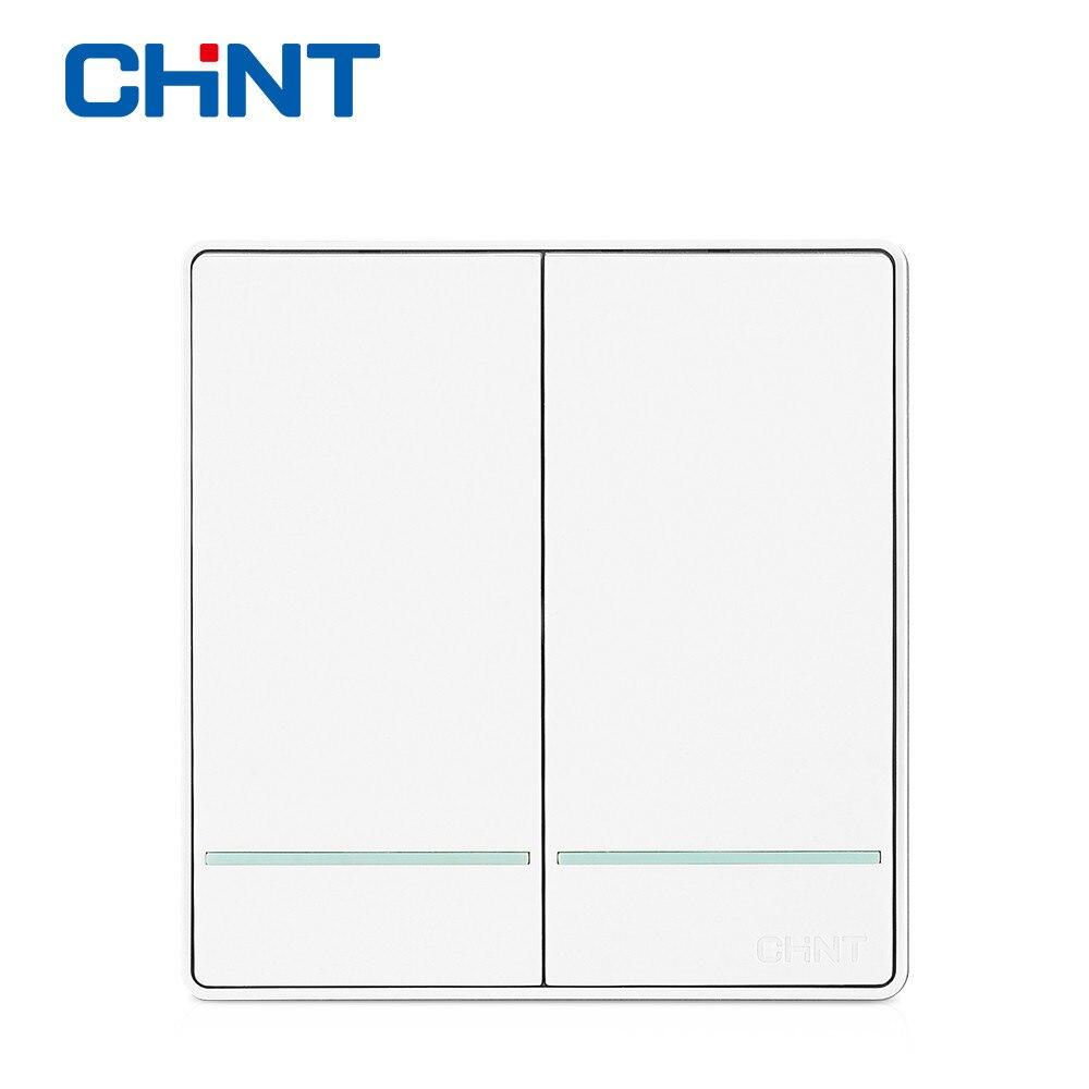 CHINT Électrique Moderne Lumière Commutateurs Interrupteur Mural Prise NEW2D Deux Gang Two Way Interrupteur Du Panneau