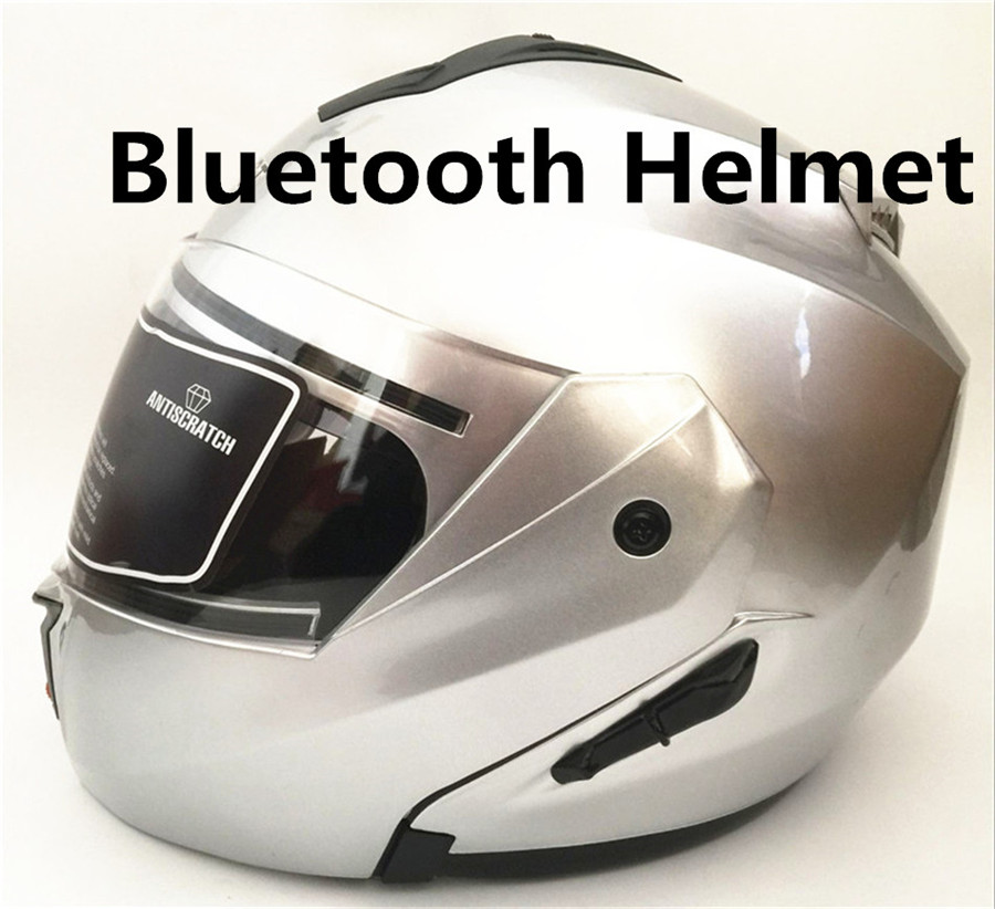 Unisex-Adult Full-Face-Helmet-Style Modular Motorcycle Helmet Integrated Bluetooth With Graphic red clown Flat White, Medium