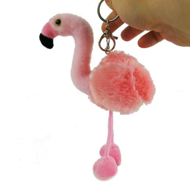 Mini Flamingos Flamingos Bonito pompom Keychain Chaveiro Fofo Falso Bola de Pêlo de Coelho Mulheres Saco pompom Acessórios Anel Chave Do Carro