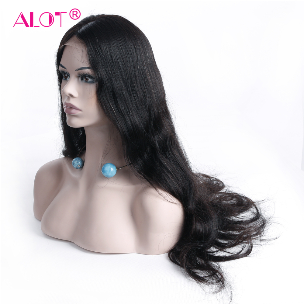 ALOT Body Wave 360 Lace Front Wig Brazilian Human Hair Wigs With Baby Hair PrePlucked Natural