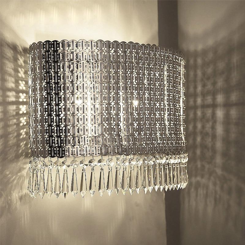 Nordic пост современные металлические кристалл настенный светильник спальня ТВ стены прихожей гостиная вилла прохода дизайнер бра светодиод