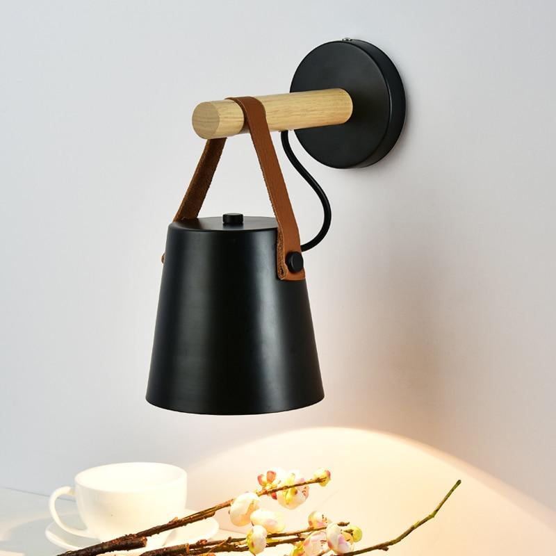 BOKT Modern LED Wall Light Wood Bedroom Read Night Light E27 85 265V Nordic Creative Loft Aisle Living Room belt Wall Sconces in Wall Lamps from Lights Lighting