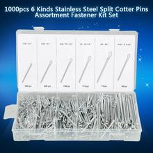 цены 1000Pcs/Lot Stainless Steel Split Cotter Pins Set With Plastic Box Cotter Pin Assortment Kit Fasteners 6 Types Split-Cotter Pins