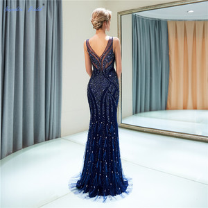 Image 4 - ספיר כלה 2019 הגעה חדשה Vestido דה Festa נוצץ בת ים כחול כהה ענק חרוזים סקסי V צוואר ארוך ערב שמלות