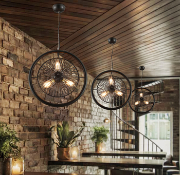 ใหม่อุตสาหกรรม Vintage ไฟ LED จี้สำหรับห้องนั่งเล่นห้องนอนพัดลมไฟฟ้า Bar Cafe ร้านอาหารโคมระย้า