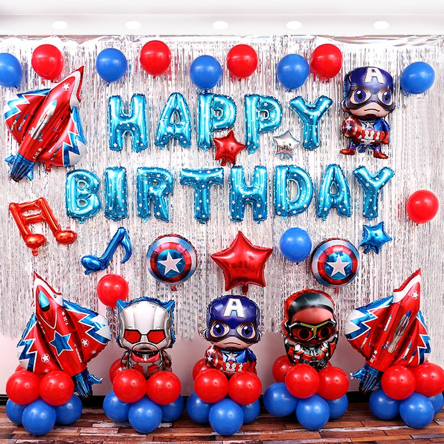 Kids Birthday Party Decoration Idea Avengers Mylar Balloons Super Hero Captain America Theme Tinsel Curtain