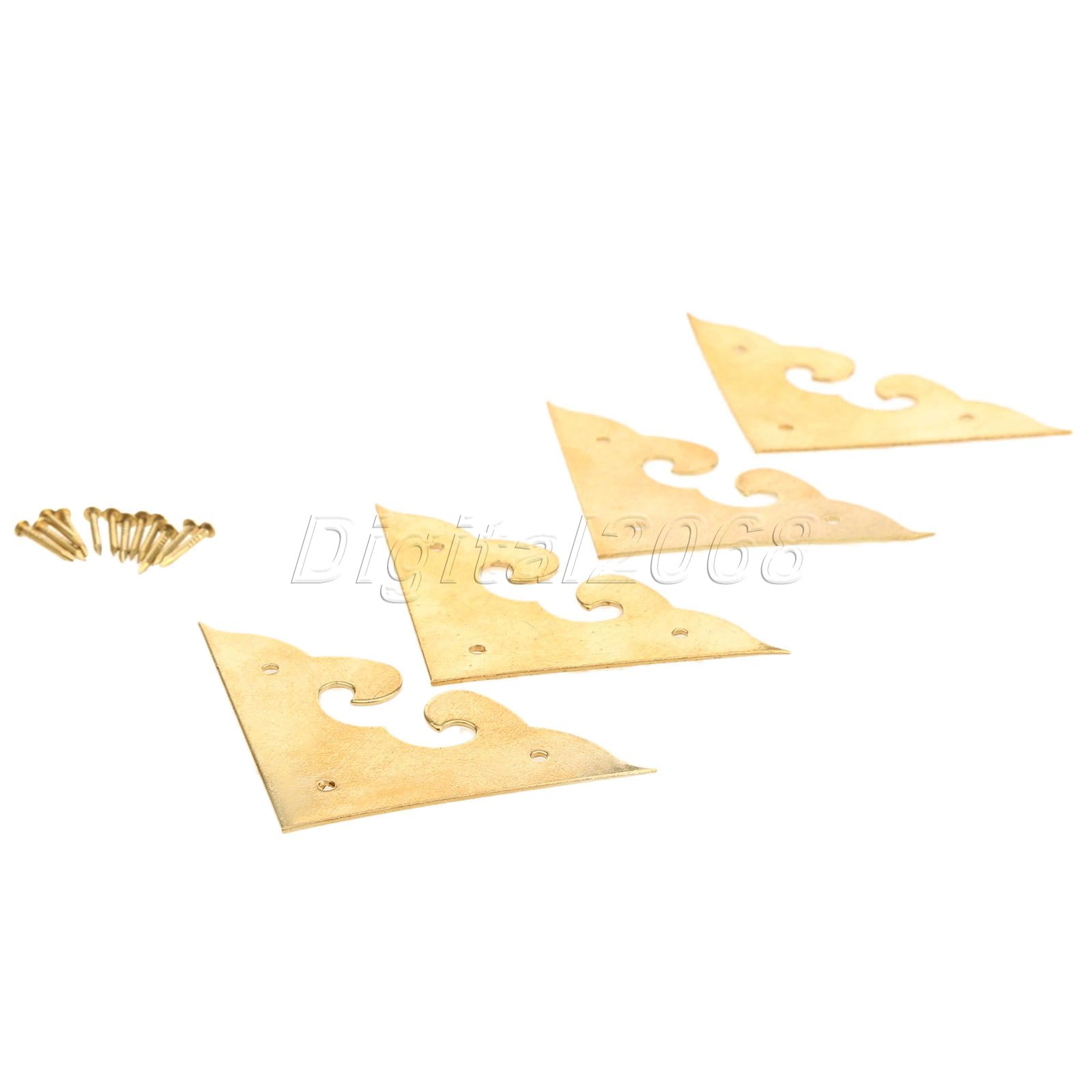High Quality 4 Corners Brackets Chinese Furniture Hardware Brass for Cabinet Trunk Jewelry Box Chest 4.5*4.5*4.5cm with Nails