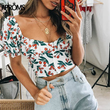 Aproms Vintage Square Neck Print Tank Tops Women Summer Ruched Crop Top Cool Girls Streetwear Chic Slim Fit Feamle Tees 2019
