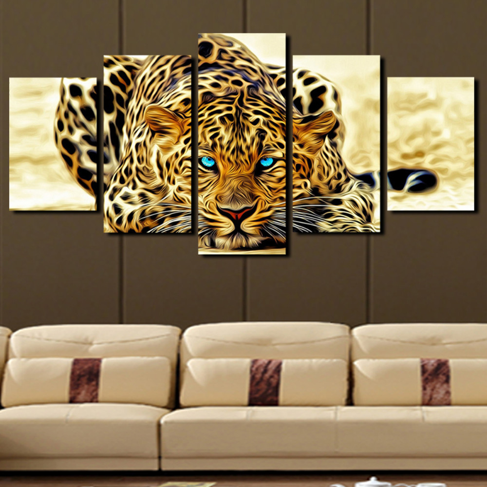 5 panel animal leopard paintings large canvas paintings vertical forms wall art home decoration. Black Bedroom Furniture Sets. Home Design Ideas
