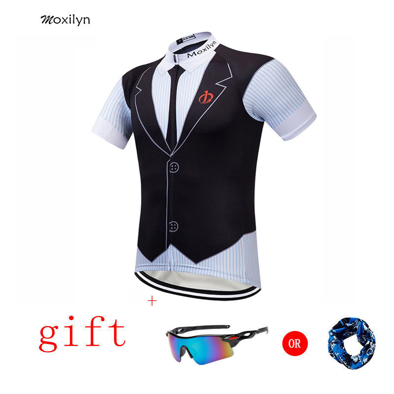 Moxilyn Mens Cycling Jerseys Top Skinsuit Cycling Clothing Mountain Bike MTB Tie Shirt Breathable Sweat-absorbing Quick-drying
