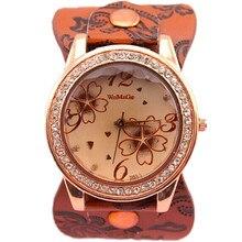 De alta calidad en forma de Calabaza 10 colores cara flor de moda banda de cuero reloj cristalino de cuarzo reloj de diseño mujeres womage reloj