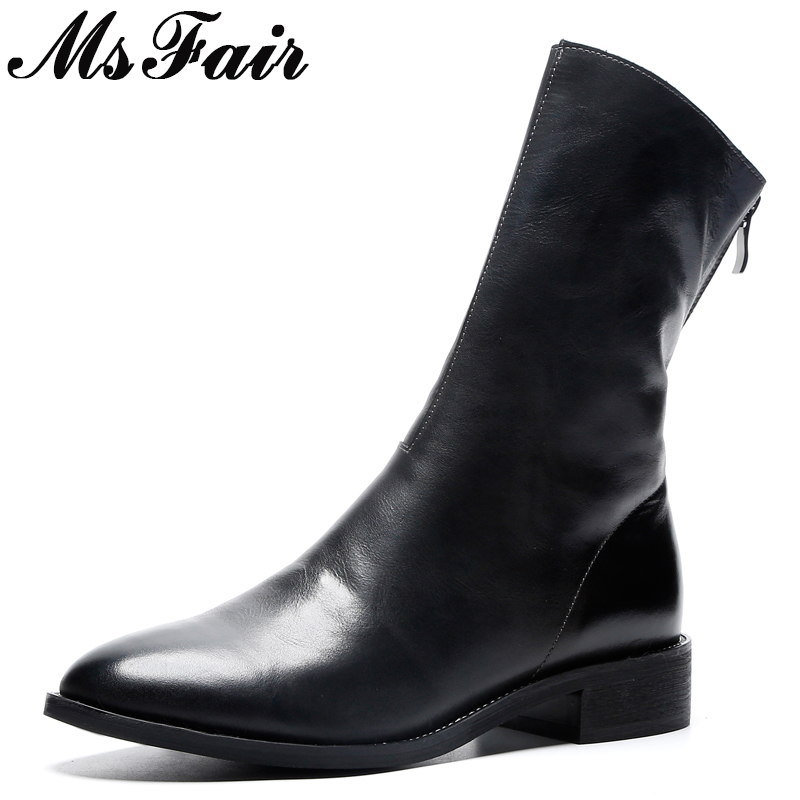MsFair Round Toe Low Heel Women Boots Hot Selling Genuine Leather Zipper Ankle Boots Women Shoes Square heel Boot Shoes For Girl msfair women boots 2018 hot selling crystal ankle boots women shoes pointed toe high heel boot shoes square heel boots for girl