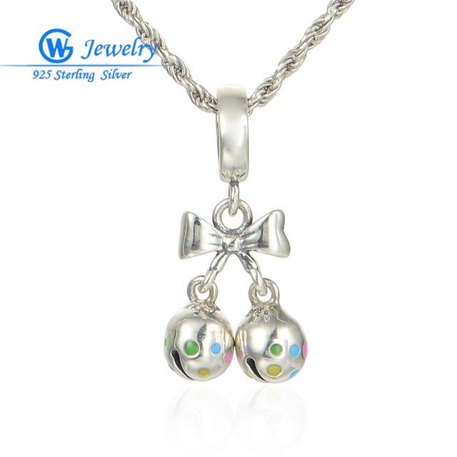 Jóia 925 de prata do natal sino de natal pingentes contas de cristal serve colares & pulseiras gw fine jewelry s217h50