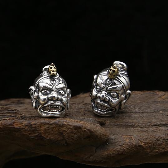 100% 925 Silver Skull Earrings Sterling Silver Skeleton Stud Earrings Real Pure Silver PUNK Man Earrings PUNK Man Jewelry Gift