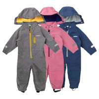 Soft shell children's jumpsuit boys and girls conjoined romper jumpsuit habercoat warm waterproof windproof composite fabric