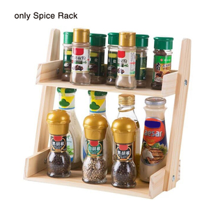 Image 3 - Multi layer Kitchen Condiment  Rack Wooden Large Capacity Multifunction Durable Storage Countertop Stand Herbs Jars Home