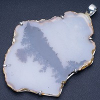 Natural Huge Dendritic Opal Punk Style 925 Sterling Silver Pendant 3 1/2 Q1220