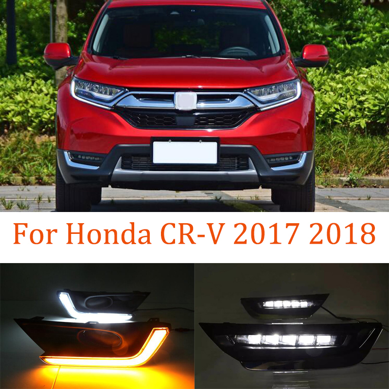 LED DRL Daytime Running Lights Fog Lamp Case For Honda CR-V CRV 2017 2018 Turn Yellow Signal Style Relay Waterproof