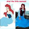 Ariel A Pequena Sereia Mulheres Vestido de Fantasia Adulto Azul Princesa Ariel Vestido Cosplay