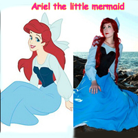 Fantasia Ariel The Little Mermaid Dress Women Adult Blue Princess Ariel Dress Cosplay Costume
