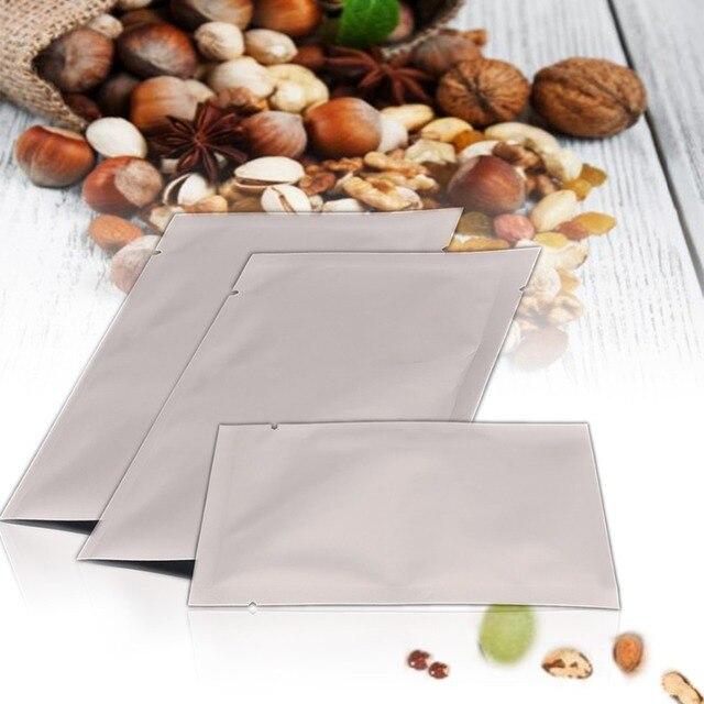 100 pcs de Prata Sacos de Aferidor Do Vácuo Da Folha De Alumínio Mylar Zipper Food Saver Bag Bolsas de Armazenamento Para Ferramentas de Cozinha