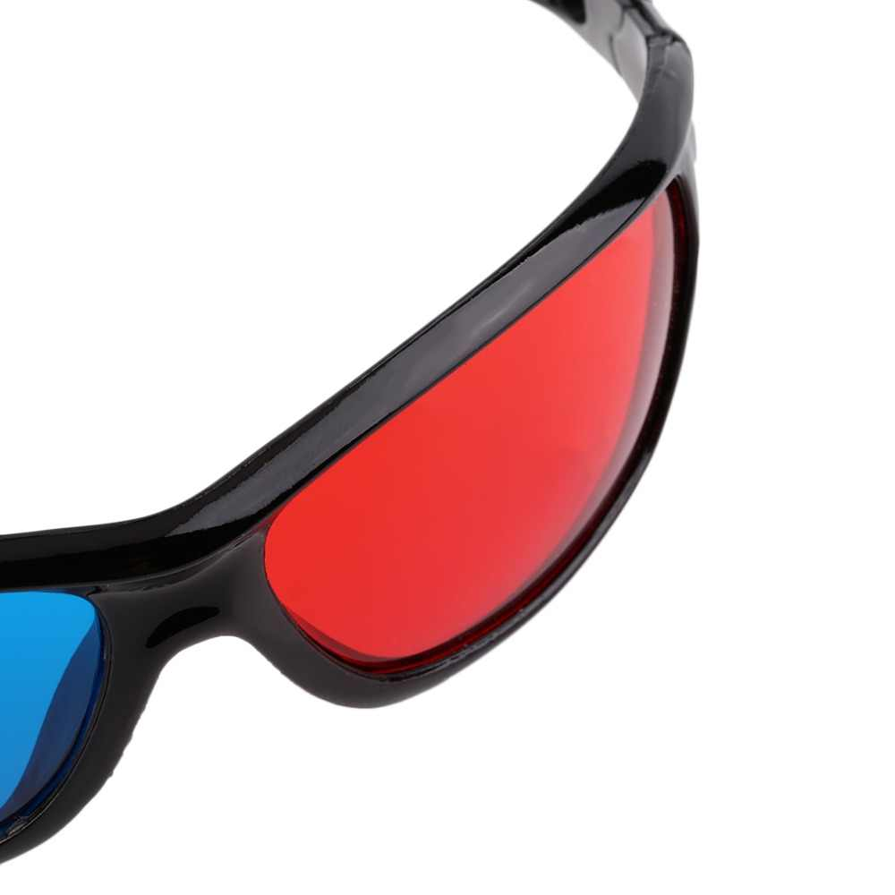 Hitam Frame Merah Biru 3D Kacamata untuk Dimensi Anaglyph Permainan Film DVD Hot Terbaru